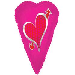 Шар 22'' (55см)  фигура     вытянутое сердце фуше