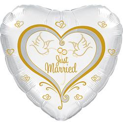 Шар 18'' (45см)  сердце     свадебные голуби белый