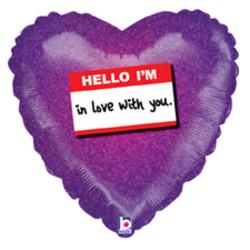 Шар 18'' (45см)  сердце     записка я влюблен в тебя фиолетовый