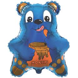 22''(55см) шар   фигура медведь с мёдом синий