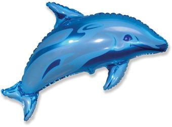 38''(96см) шар   фигура дельфин фигурный синий