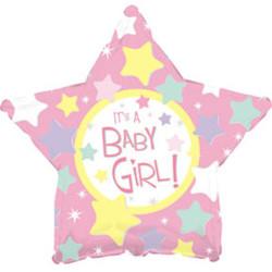18''(45см) шар   звезда с рождением девочки розовый
