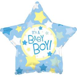 Шар 18'' (45см)  звезда     с рождением мальчика голубой