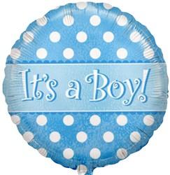 Шар 18'' (45см)  круг     с рождением мальчика точки голубой