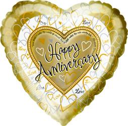 Шар 18'' (45см)  сердце     с годовщиной свадьбы золото