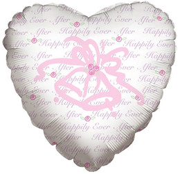 Шар 18'' (45см)  сердце     колокольчики белый