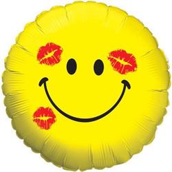 18''(45см) шар   круг смайл в поцелуях желтый