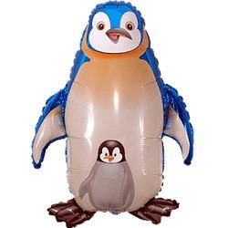 38''(96см) шар   фигура пингвин синий