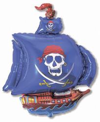 Шар 41'' (104см)  фигура     пиратский корабль синий