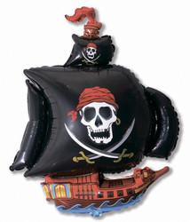 Шар 41'' (104см)  фигура     пиратский корабль черный