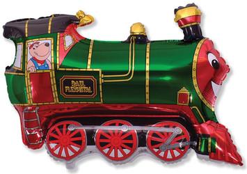 32''(81см) шар   фигура паровозик зеленый