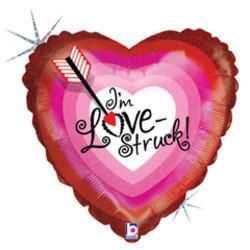Шар 18'' (45см)  сердце     стрела любви голография