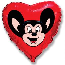 Шар 18'' (45см)  сердце     могучий мышонок красный