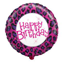 18''(45см) шар   круг с днем рождения! окрас леопарда розовый