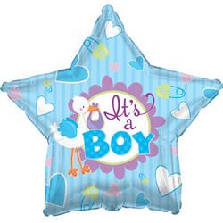 Шар 18'' (45см)  звезда     аист принес мальчика голубой