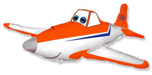 Шар 32'' (81см)  фигура     гоночный самолет оранжевый