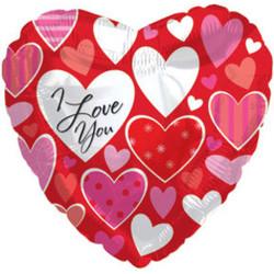 Шар 18'' (45см)  сердце     я люблю тебя разные сердечки красный
