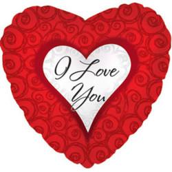 Шар 18'' (45см)  сердце     я люблю тебя завитки красный