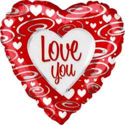 Шар 18'' (45см)  сердце     я люблю тебя серебряные завитки красный