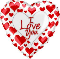 Шар 18'' (45см)  сердце     я люблю тебя простые красные сердечки белый