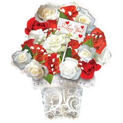 Шар 21'' (53см)  фигура     букет  красных и белых роз белый