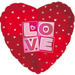 Шар 18'' (45см)  сердце     я люблю тебя квадраты красный
