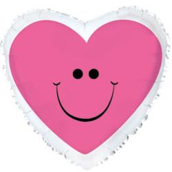 Шар 18'' (45см)  сердце      с улыбкой розовый