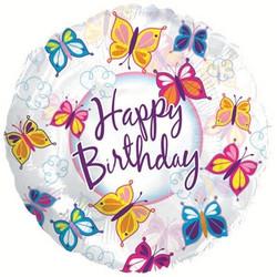 18''(45см) шар   круг с днем рождения бабочки прозрачный