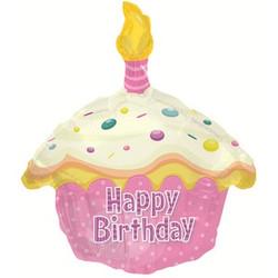 Шар 20'' (50см)  фигура     кекс с днем рождения розовый