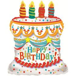 Шар 28'' (71см)  фигура     с днем рождения торт белый