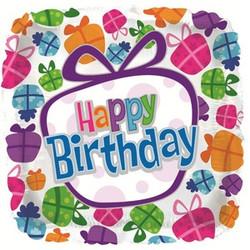 Шар 18'' (45см)  квадрат     с днем рождения танцующие подарки белый