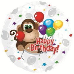 18''(45см) шар   круг с днем рождения обезьянка  серебро