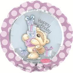 Шар 18'' (45см)  круг     с днем рождения мишка с подарками розовый