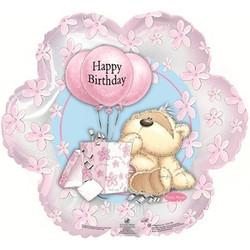 Шар 18'' (45см)  фигура     цветок с днем рождения мишка с шариками розовый