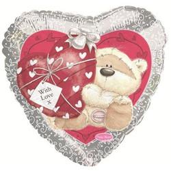 Шар 18'' (45см)  сердце     мишка с сердечком серебро