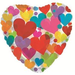 Шар 18'' (45см)  сердце      с разноцветными сердечками прозрачный