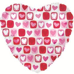 Шар 18'' (45см)  сердце     сердечки с квадратиками прозрачный