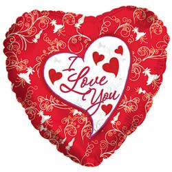Шар 18'' (45см)  сердце     я люблю тебя декоративные сердечки красный