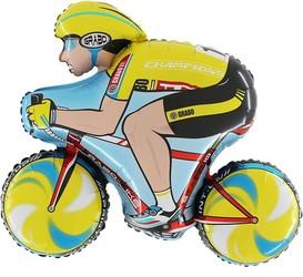 Шар 32'' (81см)  фигура     велосипедист желтый