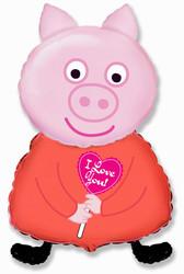 32''(81см) шар   фигура поросенок с сердцем розовый