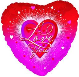 Шар 18'' (45см)  сердце     я люблю тебя фейерверк