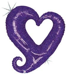 Шар 37'' (93см)  фигура     цепь сердец фиолетовый голография