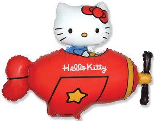 Шар 41'' (104см)  фигура     котенок в самолете красный