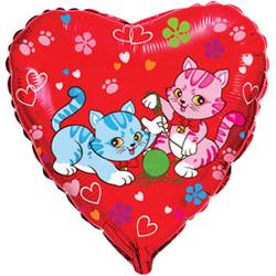 18''(45см) шар   сердце милые котята красный