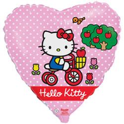 Шар 18'' (45см)  сердце     котенок  велосипеде розовый