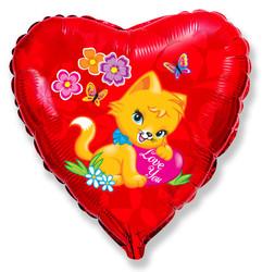 18''(45см) шар   сердце влюбленный котенок красный
