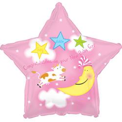 18''(45см) шар   звезда с рождением девочка