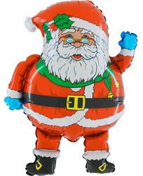 Шар 29'' (72см)  фигура     дед мороз в очках красный