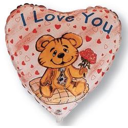 Шар 18'' (45см)  сердце     влюбленный медведь