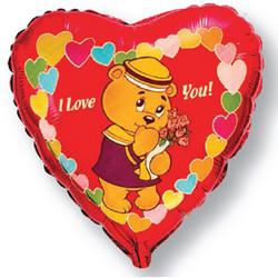 Шар 18'' (45см)  сердце     влюбленный мишкаморяк красный